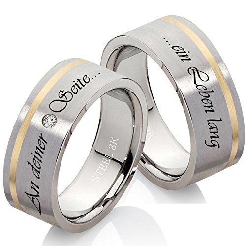 Eheringe Verlobungsringe Trauringe aus Edelstahl und 333 Gold mit echtem Diamant Gratis Lasergravur EG34
