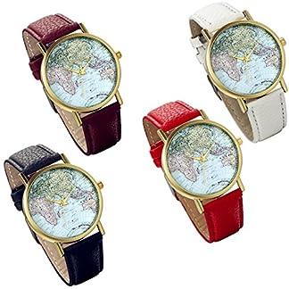 Lancardo-Damen-Herren-Armbanduhr-Fashion-Casual-Weltkarte-Analog-Quarz-Uhr-mit-Leder-Armbandrot-schwarz-braun
