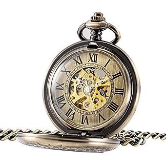 TREEWETO-Retro-Handaufzug-Herren-Mechanische-Taschenuhr-Bronze-Skelett-Uhr-Rmische-Ziffern-mit-Kette-und-Geschenkbox