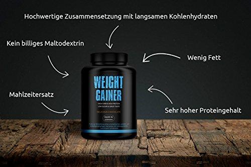 GYM-NUTRITION High Quality Weight Gainer | Auf Hafer – Gerstenbasis | HIGH PROTEIN | LOW SUGAR | HIGH CARBS | Beliebt bei Bodybuildern Und Sportlern, die Masse aufbauen wollen | Geschmack Delicious Chocolate | 3Kg | Made in Germany