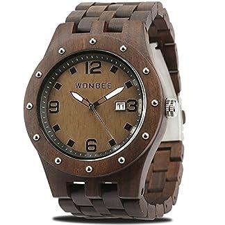 WONBEE-Herren-Holz-Uhr-Analog-Quarzwerk-Uhr-aus-Holz-mit-Ebenholz-Armband-ROCO-E
