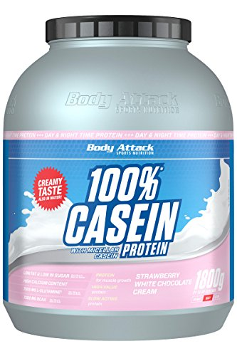 Body Attack 100% Casein Protein, Strawberry White-Chocolate, 1800 g