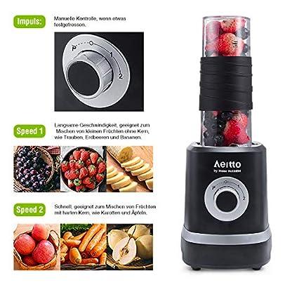 Mini-Mixer-Smoothie-Maker-Aeitto-Standmixer-Mini-Blender-Shake-Smoothie-Mixer-Blender-mit-2-520ml-Reise-Sport-Flaschen-BPA-frei-Tritan-Trinkflasche-3-einstellbare-Geschwindigkeit