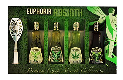 Euphoria-Premium-Absinthe-Collection-Set-Original-80-Black-Cannabis-4-x-50-ml-35mgkg-thujone-Zucker-Lffel