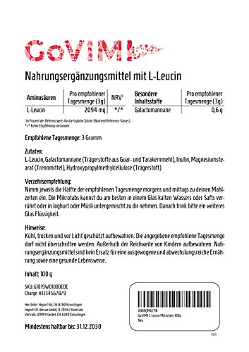 GoVIMI L-Leucin Miktotabs 100g, 698mg/g, vegan, hochdosiert, Made in Switzerland