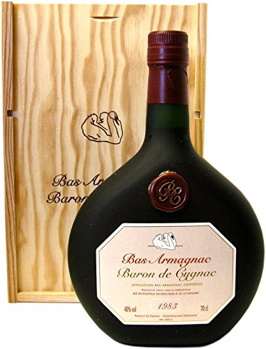 Raritt-Armagnac-Baron-de-Cygnac-07l-Jahrgang-1983-incl-Holzkiste