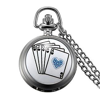 JewelryWe-24H-Taschenuhr-Royal-Flush-Poker-Karte-Herren-Damen-Analog-Quarz-Uhr-Kettenuhr-mit-Halskette-Kette-Pocket-Watch-Geschenk-Silber