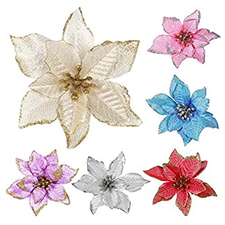 Bloomma-Weihnachtsblumen-Weihnachtsglitter-Weihnachtsstern-Christbaumschmuck-Knstliche-Hochzeit-Weihnachtsblumen-Krnze-Girlande-Dekoration