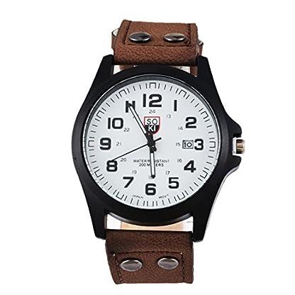 Souarts-Herren-Kunstleder-Kalender-Armbanduhr-Quartzuhr-Uhr-mit-Batterie-Braun