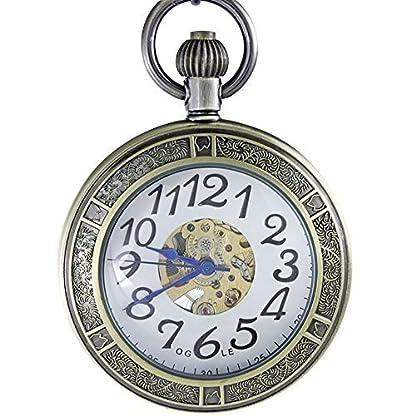 Ogle–Wasserdichte-goldene-selbstaufziehende-mechanische-Taschenuhr-groe-Kette-Vergrerungs-Uhrglas-sichtbares-Uhrwerk