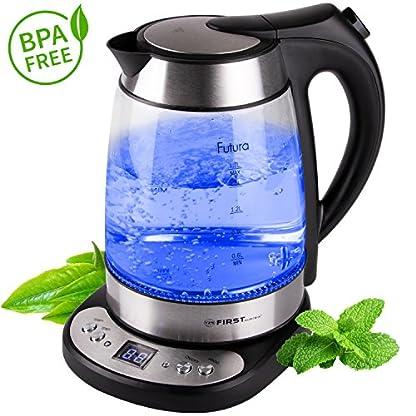 Glas-Wasserkocher-17-Liter-BPA-Frei-Temperatureinstellung-50-100-Grad-2-Stunden-Warmhaltefunktion-Kabellos-mit-Kalkfilter-und-verdecktes-Heizelement-blaue-LED-Beleuchtung-Temperaturanzeige-LED-Display