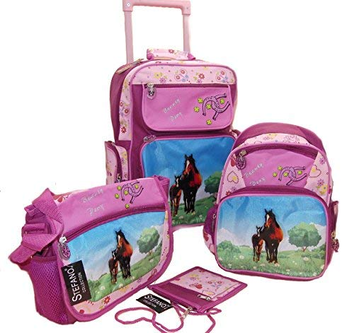 STEFANO-Kinder-Reisegepck-Trolley-Kitatasche-Rucksack-Brustbeutel-4-tlg-Set-PonyPferd-pink-rosa-prsentiert-von-RabamtaGO