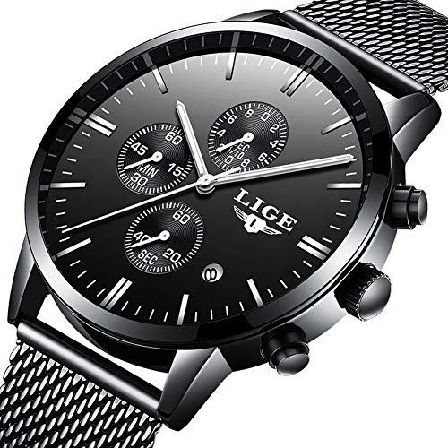 Herrenuhr-wasserdicht-Sport-Chronograph-Analog-Quarz-Edelstahl-Uhr-Herren-Luxusmarke-LIGE-lssige-Mode-schwarz-Mesh-Uhr