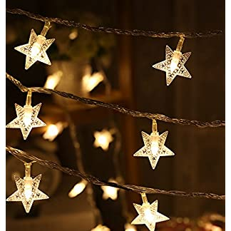 Trixes-15-m-Lichterkette-mit-20-warmen-weien-Sternen-LEDs-Fairy-Lights-Weihnachtsdekoration