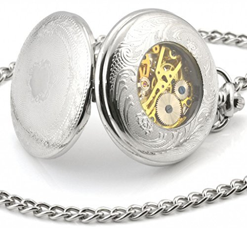Unendlich-U-Klassisch-Retro-Handaufzug-Mechanische-Taschenuhr-Schild-Hohle-Skelett-Kettenuhr-Pullover-Halskette-Silber