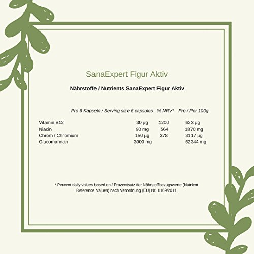 SanaExpert Figur Aktiv, Sättigungskapseln mit Konjak Glucomannan, Chrom, Vitamin B12 und Niacin, 120 Stück (96 g)