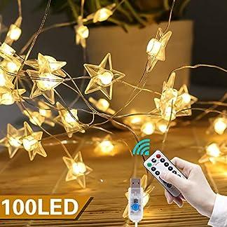 VEGKEY-LED-Lichterkette-Sterne-100-Warmweie-Sterne-LED-Stern-Draht-Lichterkette-fr-Innen-und-Auen-Dekoration-wie-Zimmer-Weihnachten-GeburtstagParty-Kinderzimmer