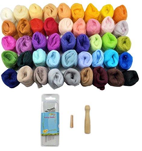 45 Farben Filzwolle Set Trockenfilzen Nähset Märchenwolle Filzstoff mit Filznadeln Werkzeug Kit für Filz DIY Handwerk Weihnachten Puppe Deko