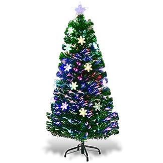 COSTWAY-LED-Weihnachtsbaum-Knstlicher-Tannenbaum-Christbaum-beleuchtet-90120150180cm-Grn-mit-Glasfaser-Farbwechsler