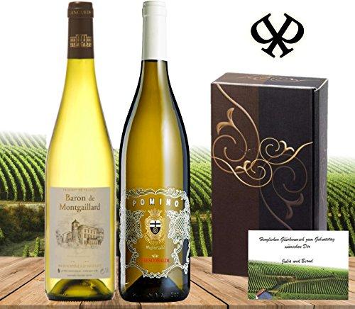 Italien-vs-Frankreich-Das-Weisswein-geschenk-fr-besondere-Anlsse-Baron-Montgaillard-Blanc-Frescobaldi-Pomino-Bianco-DOC-in-der-2er-Geschenk-verpackung-Geburtstag-Sommer-partyfrisch-erstklassig