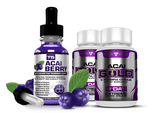 Strongest Legal ACAI BERRY Duo Saver Pack: T5 Fat Burners Acai Berry Serum + Acai Berry Detox Pills. (1 Month Supply)