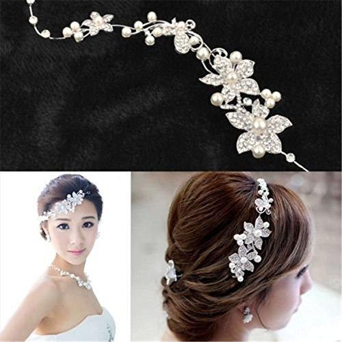 Interesting® Damen Braut Hochzeit Blume zarte Perlen Schönheit Crystal Chic Stirnband Clip Kamm Haarschmuck