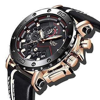 LIGE-Herren-Uhren-Schwarz-Sport-Wasserdicht-Analog-Quarzuhr-Fashion-Militr-Chronograph-Gold-Groes-Zifferblatt-Leder-Armbanduhr