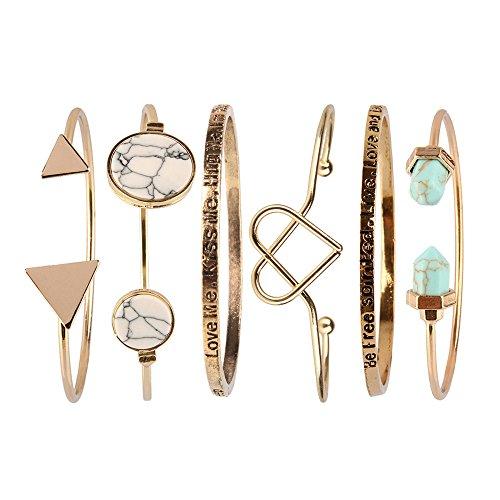 Beauty7 – 6 Stücke Fasion Bohemian Stil Armband Armstreifen Bracelet Kuff kits