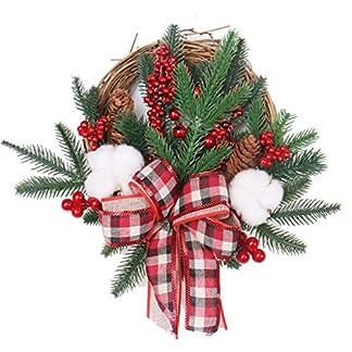 ZXPAG-Tannenkranz-Kinstlich-Ktinstlicher-Kranz-Frihling-Weihnachten-Seidenband-Kirsche-fr-Tr-und-Fenster-auen-Deko-Wandkranz-Kranz-Girlande