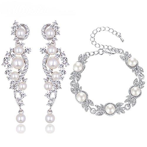 Schmuckset Armband Ohrringe Silber Strass Perlen Braut Hochzeit groß Schmuck XXL