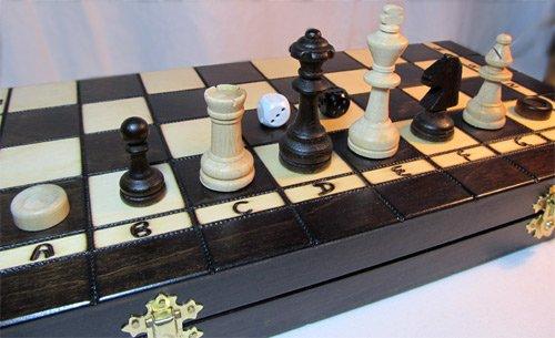 ChessEbook-Schachspiel-Dame-Backgammon-40-x-40-cm-Holz