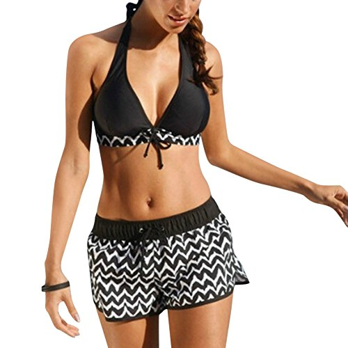 iBaste Neckholder Damen Bikini Push Up Bademode mit Badehose Bikini-Set Badeanzug Swimsuit (EU34-EU46)