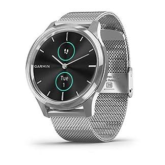 Garmin-Vivomove-Luxe-Smartwatch-Hybrid-Analog-Digital-Unisex-Silbernes-Gehuse-Maglia-Milano-Stahlband-010-02241-03