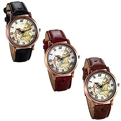 JewelryWe-Herren-Damen-Armbanduhr-Retro-Analog-Quarz-Weltkarte-Globus-Karte-Uhr-mit-Rmischen-Ziffern-Zifferblatt-und-Leder-Armband-Farbe-Rot-Braun-Schwarz