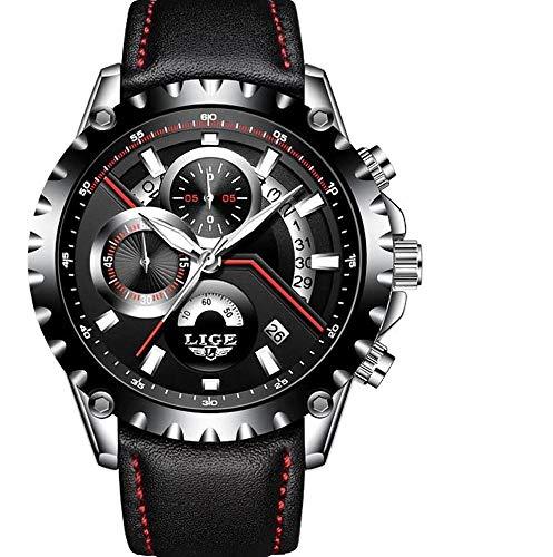 LIGE-Herren-Uhr-Analog-Quarz-mit-Leder-Armband-9838