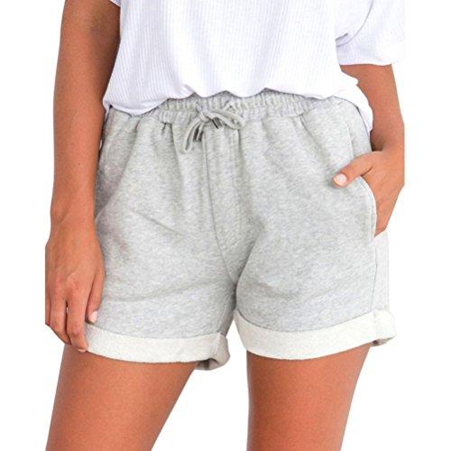 Shorts Damen Sommer BakeLIN Kurze Hose Einfarbig Crimpen Lose Strand Sport Hot Pants (Schwarz Grau Rosa Gelb, S~XL)