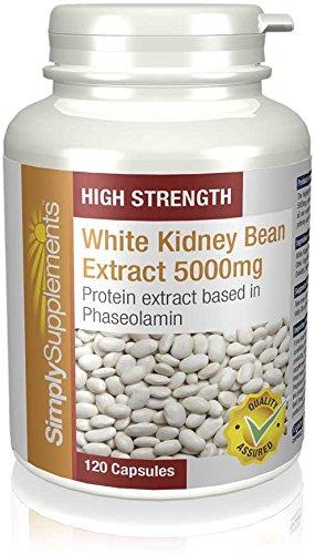Weißer Kidneybohnen Extrakt 5000mg – 120 Kapseln – Blockiert bis zu 30% täglich aufgenommener Kohlenhydrate – Simply Supplements