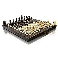 Master-of-Chess-Fantastische-OLYMPIC-35cm-14in-Turnier-Holz-Schachspiel-und-Entwrfe-Checkers-100-Handarbeit