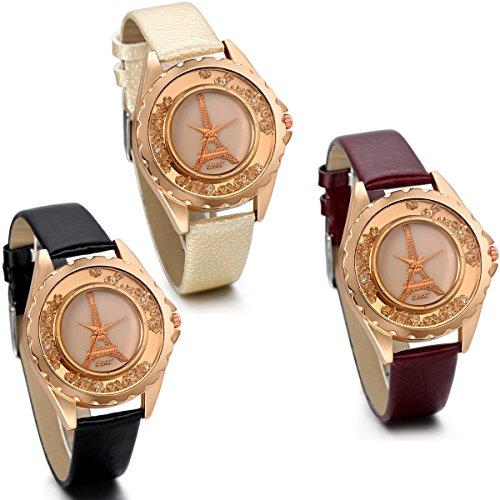 JewelryWe-Damen-Mdchen-Armbanduhr-Charme-Casual-Analog-Quarz-Uhr-mit-Leder-Armband-Beweglich-Strasteine-Eiffelturm-Zifferblatt-Schwarz-Gelb-Rot