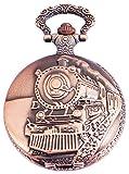 Taschenuhr-inkl-Kette-und-Clip-Eisenbahn-Dampflok-Lokomotive-Zug-Wei-Bronze-Klassik-Analog-Quarz-Metall-Arabische-Ziffern