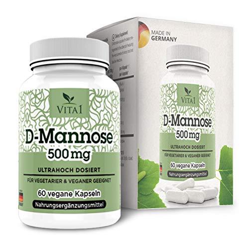VITA1 D-Mannose 500mg • 60 Kapseln (2 Wochen Vorrat) • dietätische Behandlung gegen Blasenentzündung • Hergestellt in Deutschland