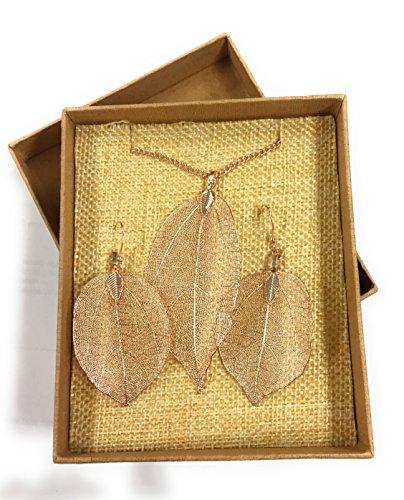 Rosegoldfarbene Kette und Ohrringe mit Blättern Halskette necklace earrings