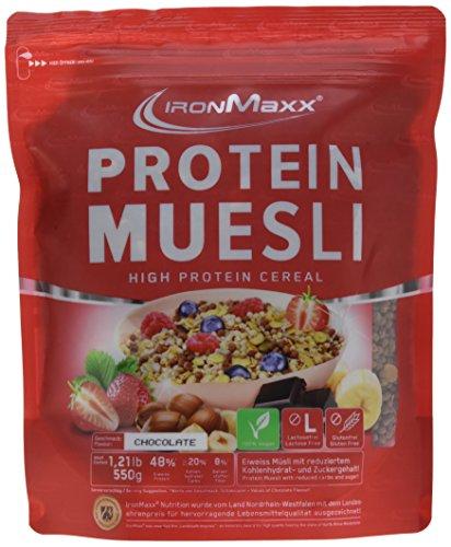 IronMaxx Protein Müsli Schokolade / Veganes Fitness Müsli laktosefrei und glutenfrei / Eiweiß Müsli mit Schokoladengeschmack / 1 x 550 g