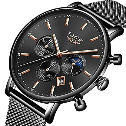 LIGE-Herren-Uhren-Sports-Wasserdicht-Analoger-Quarz-Fashion-Casual-Schwarz-Edelstahl-Mesh-Armband-9894D