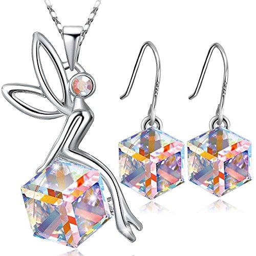 Schutzengel schmucksets ,Damen Kette Damen Halskette mit Engel Anhänger, Kristallen Ohrringe ,Geschenke,