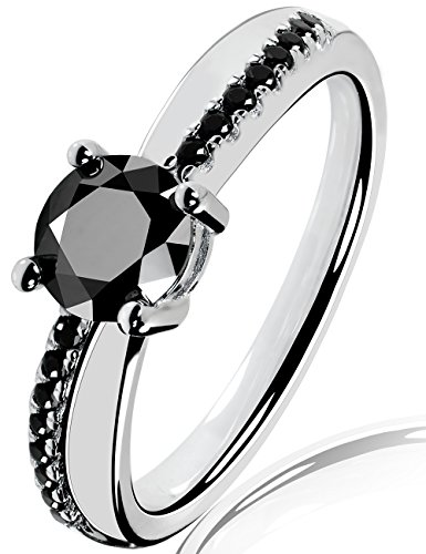 Lars Benz LUXUS Damen-Ring Verlobungsring Swarovski Zirkonia 1,4 Karat 6mm schwarz Sterling-Silber 925 Zertifikat Solitärring Antragsring Vorsteckring Silberring klassisch ORIGINAL