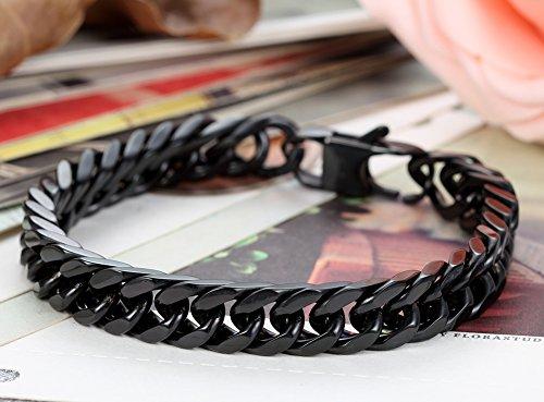 Flongo Herrenarmband Kette, Edelstahl Armband Armreif Armkette Link Handgelenk Panzerkette Schwarz Klassiker Herren Männer