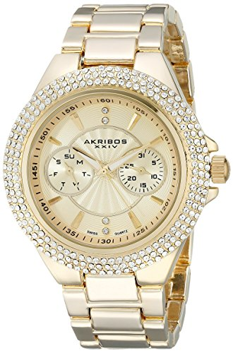 Akribos-XXIV-Damen-Glimmer-Analog-Display-Swiss-Quartz-Uhr-mit-Legierung-Armband