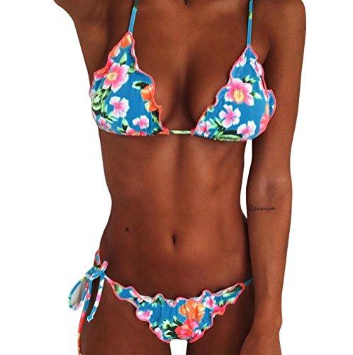 Damen-Bikini-Set-High-Waist-Push-Up-Rschen-Print-Tankini-Set-brasilianische-Bademode