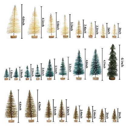 Asdomo-26-knstliche-Sisal-Weihnachtsbaum-Mini-Kiefer-mit-Holzsockel-Flaschenbrste-Bume-Heimwerker-Tischdekoration-Weihnachtsdekoration-Diorama-Modelle-Grn-Gold-und-Elfenbein